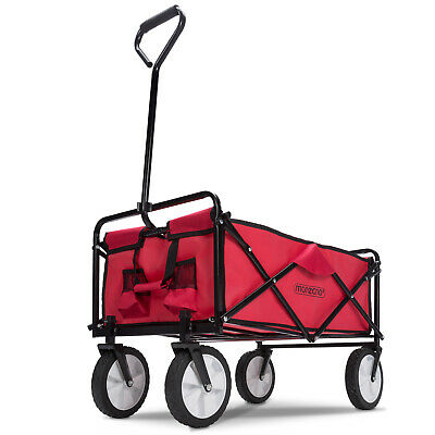 Folding Hand Cart Garden Wagon Trolley Pull-Along Festival Camping XL Cart Red