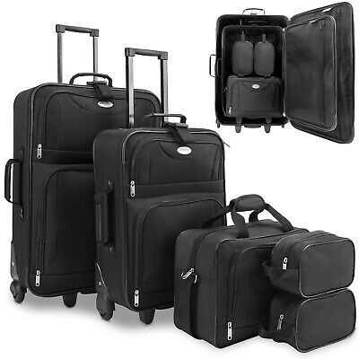 4 Pcs Trolley Set Black Travel Suitcase Baggage Luggage - Storable In Each Other