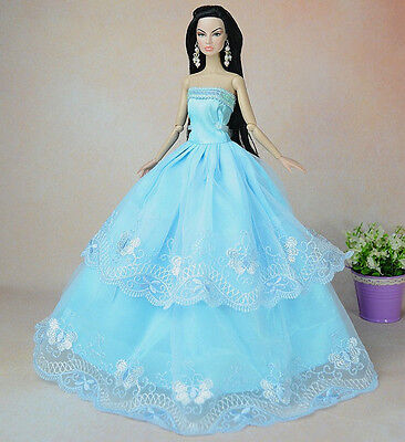 Blue Fashion Princess Party Dress/Clothes/Gown For Barbie Doll S35b