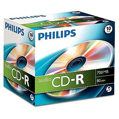Philips Audio CDR-80 700MB 80min 10pk Jewel Case Storage Pictures Music