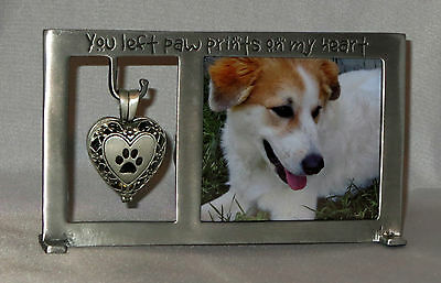 Dog Memorial Frame You Left Paw Prints on My Heart Ashes Urn New Pewter Locket