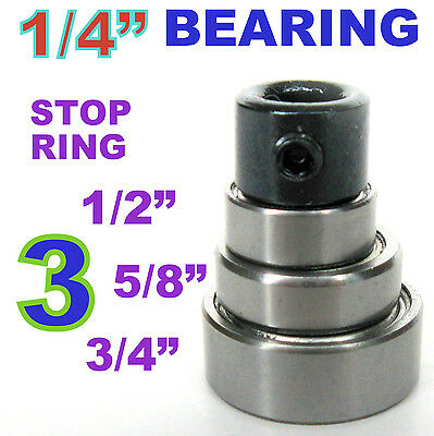 """4pc Top Mounted 1/2, 5/8, 3/4 Bearing & Stop Ring for 1/4"""" SH Router Bit sct-888"""