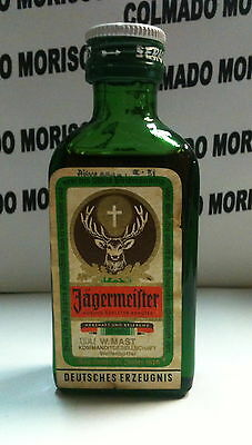 JAGERMEISTER 0,04 l cristal miniatura mini bottle glass  jägermeister OLD!!