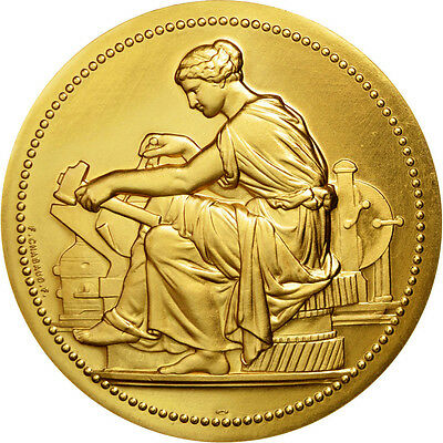 [#87525] FRANCE, Business & industry, The Fifth Republic, Medal, MS(65-70), Gilt