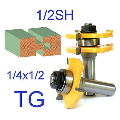 "2 pc 1/2"" Sh Tongue & Groove Assembly Joint Router Bit Set sct-888"