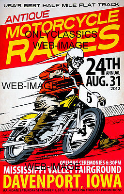 MOTORCYCLE RACING POSTER FAIRGROUND DAVENPORT IOWA CYCLE RACES GREAT GRAPHICS