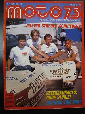 Moto 73 #18 31 augustus 1984 (NL) poster Barclay LCR Yamaha Streuer / Schnieders