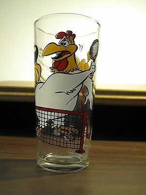 FOG HORN & HENRY HAWK Playing Tennis Looney Tunes GLASS by Pepsi 1976