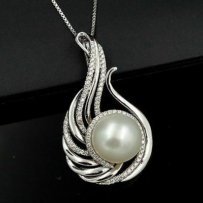 12 mm White Freshwater Pearl CZ 925 Sterling Silver Pendant Chain Necklace 03405