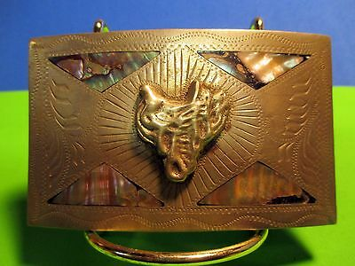 Custom Made Saddle Hand Engraved & Inlaid Alpaca Mexico Belt Buckle MAKE OFFER