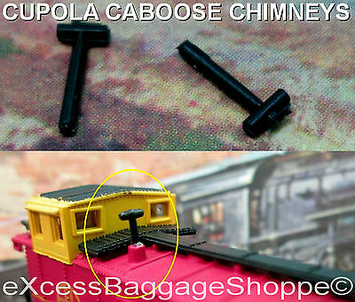 Replacement Caboose Chimneys / Smoke Stacks - 1 Pair Fits Most Brands - N Scale