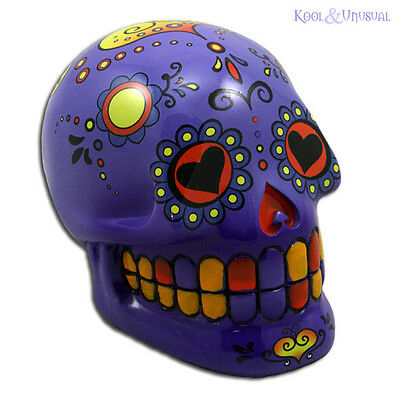 Fabulous Mexican Day of the Dead PURPLE SUGAR SKULL Money Box Bank