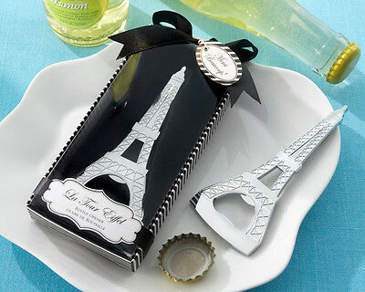"""La Tour Eiffel"" Chrome Bottle Opener Tower Wedding Favor Paris France Gift"