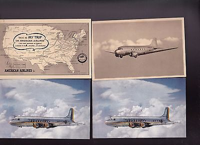 American Airlines Postcards 1940s 1950s Lot of 4 Route Map & Planes