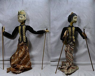 2 ANTIQUE CARVED WOOD MIDDLE EAST/ASIA HP MARIONETTES PUPPETS - MAN & WOMAN