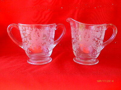 VINTAGE NEW MARTINSVILLE PRELUDE ETCHED FOOTED CREAMER AND SUGAR DISH BOWL