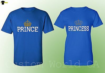 Prince and Princess Couple Matching Tee His and hers Love Shirts - Royal Blue