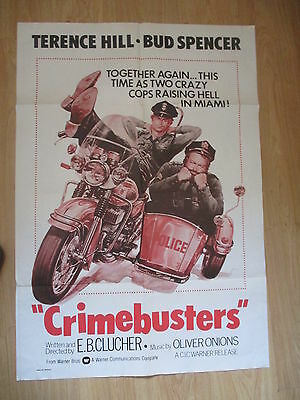 """' CRIMEBUSTERS '1977 BUD SPENCER/TERENCE HILL ORIGINAL US MOVIE POSTER  """"40x28"""""""