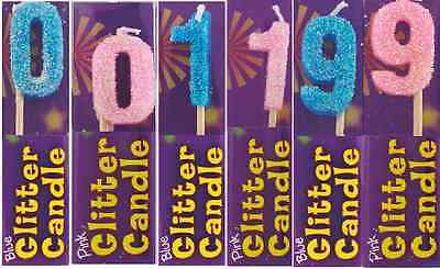 HAPPY BIRTHDAY Digit CAKE DECORATIONS GLITTER CANDLE BLUE OR PINK CANDLES 0-1-9