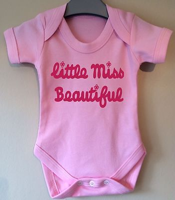 Little Miss Personalised With Name/Word Baby Body Grow Suit Vest Mr Men Girl