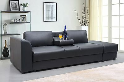 Modern 3 Seater Faux Leather Sofa Bed & Ottoman Storage/Footstool Black / White