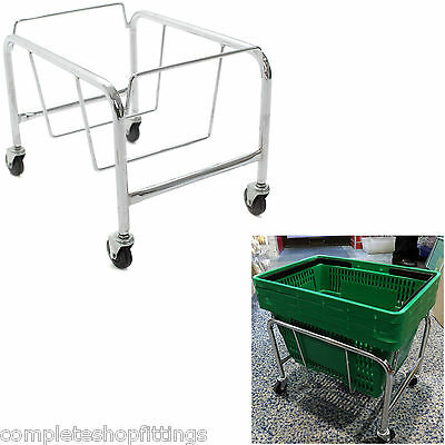 Heavy Duty Shopping Basket Stand Wire & Plastic Shopping Basket Mobile Stand