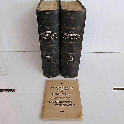 1901 The Students Cyclopaedia A-L & M-Z Complete W/ Home Study Handbook