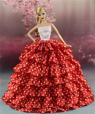 Red Fashion Princess Polka Dots Print Dress/Clothes Gown For 11.5in.Doll Su124b