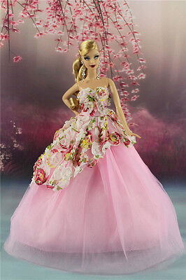 Pink Fashion Party Flower Dress/Wedding Clothes Gown For Barbie Doll AF14k