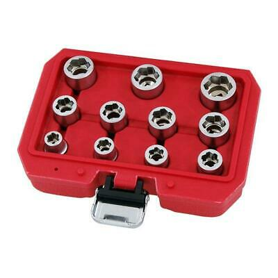 "11 Piece Anti Slip / skid Twist Socket Set in Case For Damaged Nuts - 3/8"" Drive"