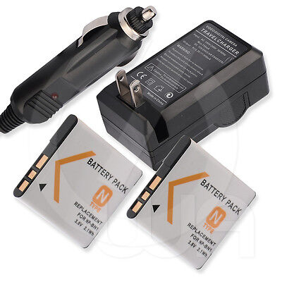 2 Battery+Charger for Sony Cyber-Shot DSC-TX10 Digital 4X Optical Steady Shot