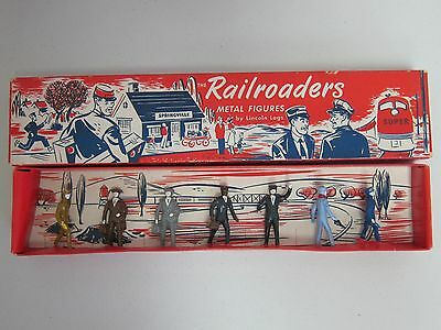 """LINCOLN LOGS METAL RAILROAD FIGURES-UNUSED/BOXED-CIRCA 1947-2.25"""" TALL-GORGEOUS!"""