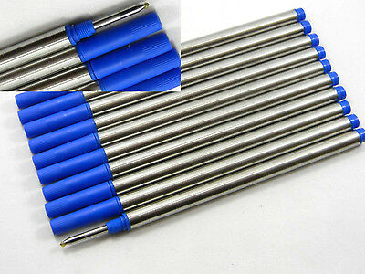10pcs BLUE Refill style Rolle ball Pen Refills Ink Rotation