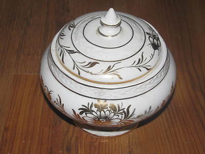White & Gold Covered Candy Dish Made in Italy Numbered