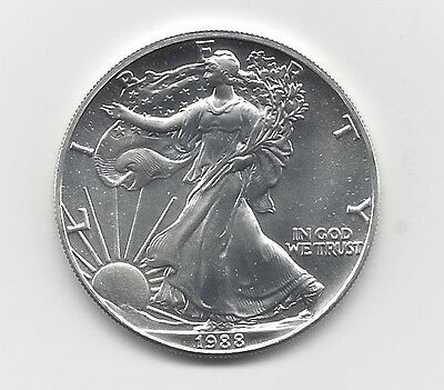 1988 - 1 oz American Silver Eagle Coin - One Troy oz .999 Bullion