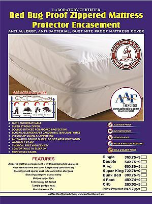 Lab Certified Bedbug proof mattress cover protector encasement Anti Allergy