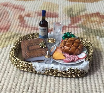 Pat Tyler Dollhouse Miniature Wicker Basket Tray W/Cheese Book Wine p154