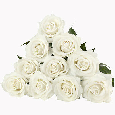 10Pcs Ivory 7cm Real Latex Touch Rose Flowers Wedding Home Design Bouquet Decors
