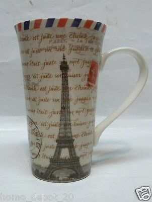222 FIFTH PARIS POSTCARD TALL LATTE 16 oz MUGS COFFEE CUPS ~ FINE CHINA NEW