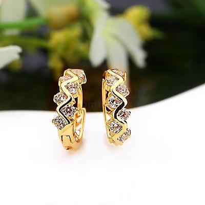 1Pair 18k Gold Plated Zircon Hollow Hoops Earrings Jewelry Gift for Women Lady