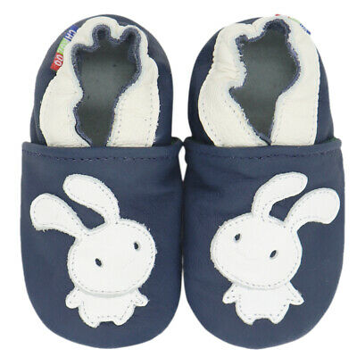 carozoo bunny navy blue 12-18m soft sole leather baby shoes