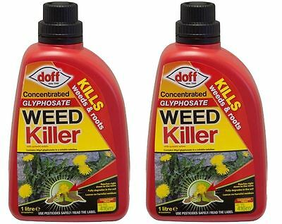 2 x DOFF GARDEN GLYPHOSATE WEED ROOT CONTROL KILLER CONCENTRATE 1 LITRE
