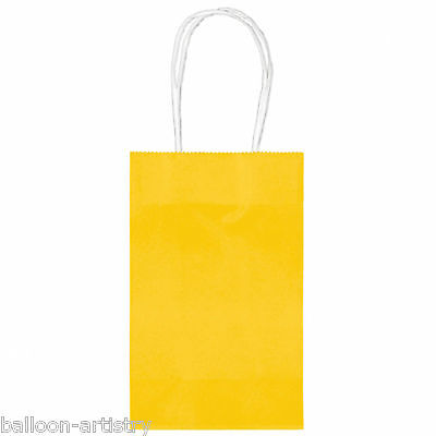 10 Classic SMALL Children's Birthday Party Solid YELLOW Paper Loot Gift Bags