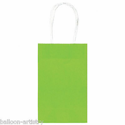 10 Classic SMALL Child's Birthday Party Solid KIWI GREEN Paper Loot Gift Bags
