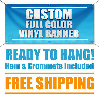 4'x 10' Full Color Custom Banner High Quality 13oz Vinyl - Free Shipping
