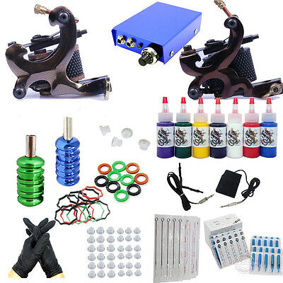 New Complete Starter Tattoo Kit 2 Machines Guns 10 color inks Power Supply Set