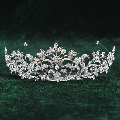 Wedding Tiara Bridal Party Crystal Floral Crown Pageant Rhinestone Headband NEW