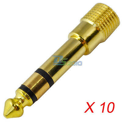 10pc 6.35 mm 1/4 Male Stereo Plug to 3.5 mm Female Jack Audio Adapter Connector