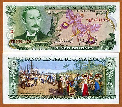 Costa Rica, 5 Colones, 1986, P-236d, UNC -  colorful