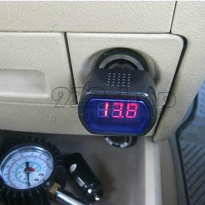 Mini Car Auto 12V/24V Display LED Digital Thermometer Voltmeter Socket Meter New